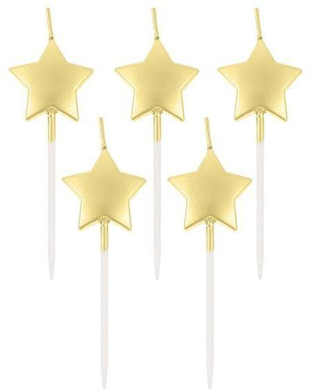 Świeczki urodzinowe gwiazdki złote 5 sztuk PF-SPGZ