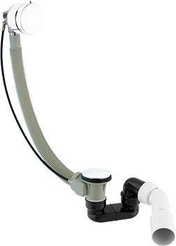 Syfon wannowy przelewowo-odpływowy, z automatycznym korkiem,BIAŁY