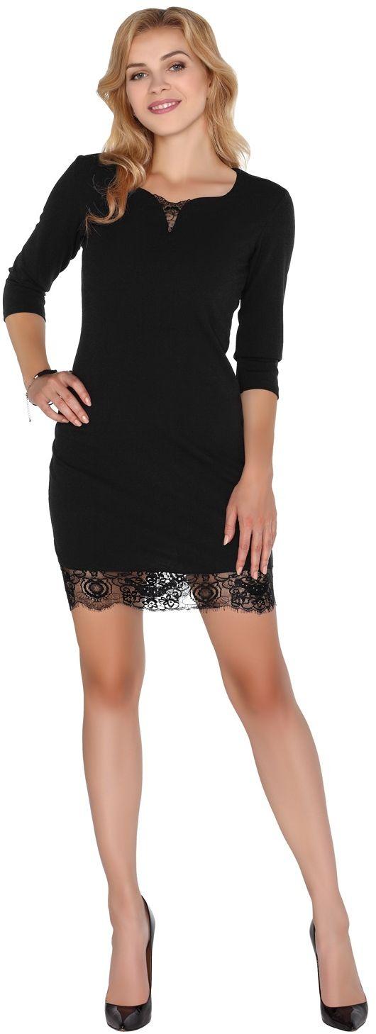 Czarna mini sukienka z koronką