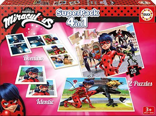 Educa Borrás  17259  gra edukacyjna Superpack Miraculous Ladybug