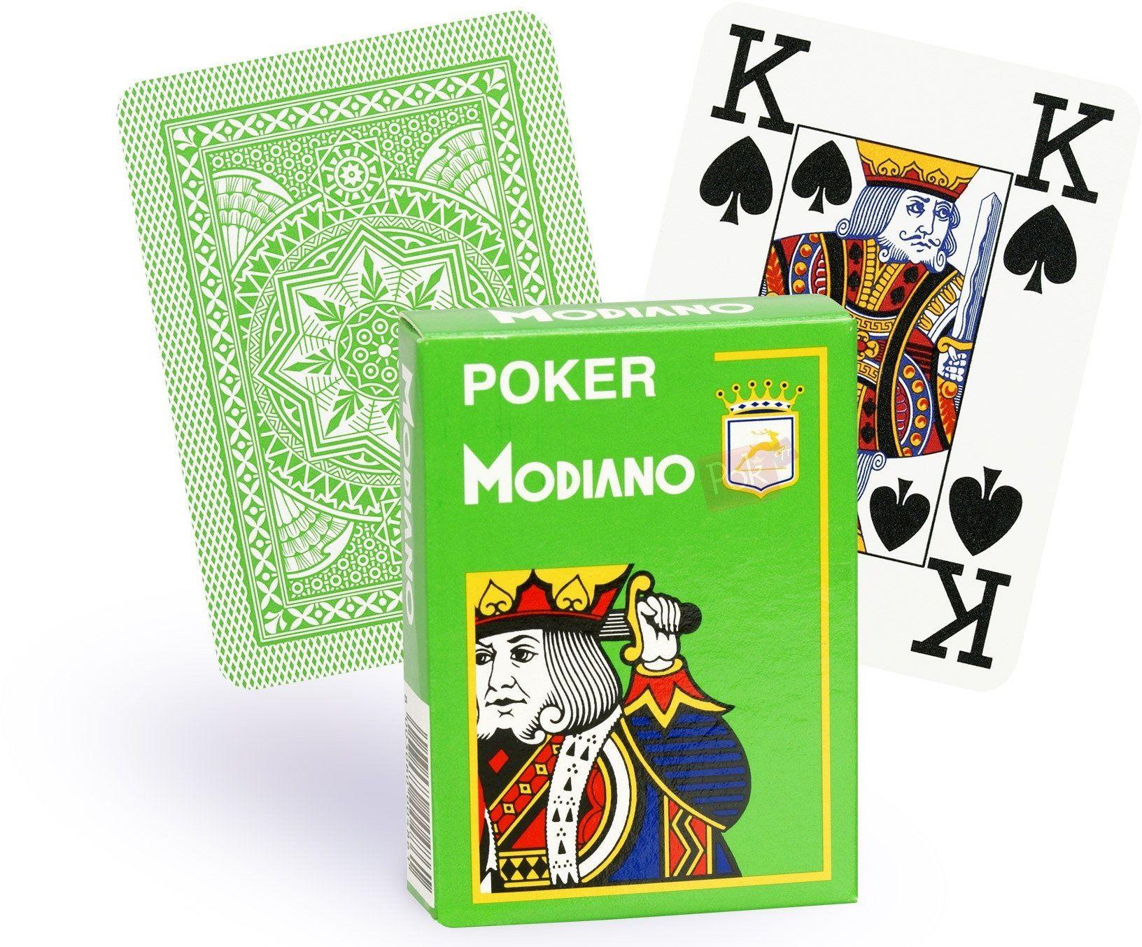 Modiano Cristallo 486, karty do gry w pokera, 4 indeksy, jasnozielony.