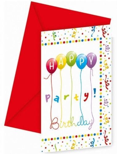 """Zaproszenia """"Balonowe Happy Birthday"""""""