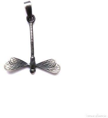 Wisiorek srebrny - Mini ważka szara