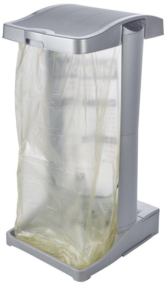 keeeper System stojaków na worki na śmieci ze zintegrowanym schowkiem, 60-120 l, olej, srebrny