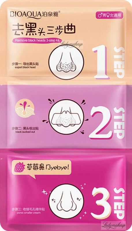 BIOAQUA - 3-STEP KIT - Remove Black Heads - Zestaw 3 plastrów na nos oczyszczających pory