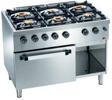 Kuchnia gazowa 6 palnikowa z piekarnikiem gaz. GN 2/1 28500W