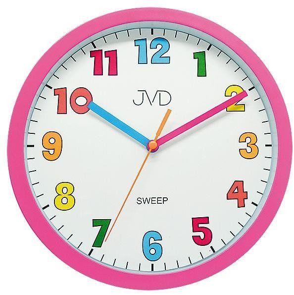 Zegar ścienny JVD HA46.2 Kolorowy, cichy - wielokolorowy różowy