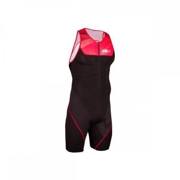ZEROD strój triathlonowy rozpinany z przodu START czarno - czerwony - Czarno-czerwony