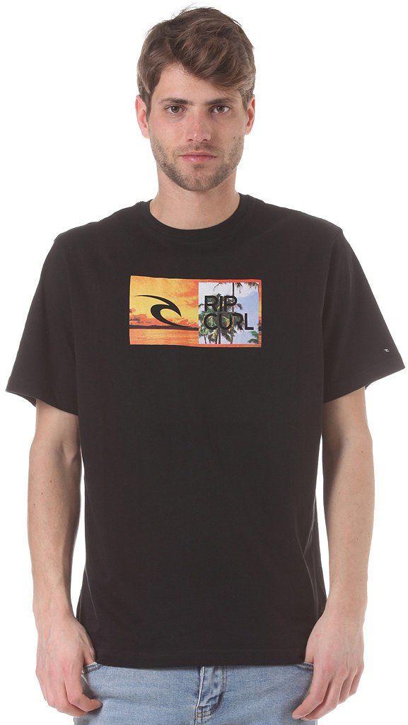 Rip Curl Męska koszulka z krótkim rękawem z okrągłym dekoltem Czarny XL