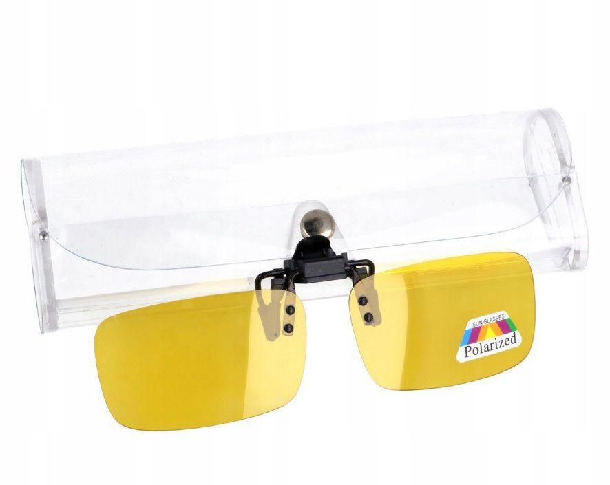 Nakładki polaryzacyjne na okulary korekcyjne - żółte rozjaśniające + ETUI - NA-160