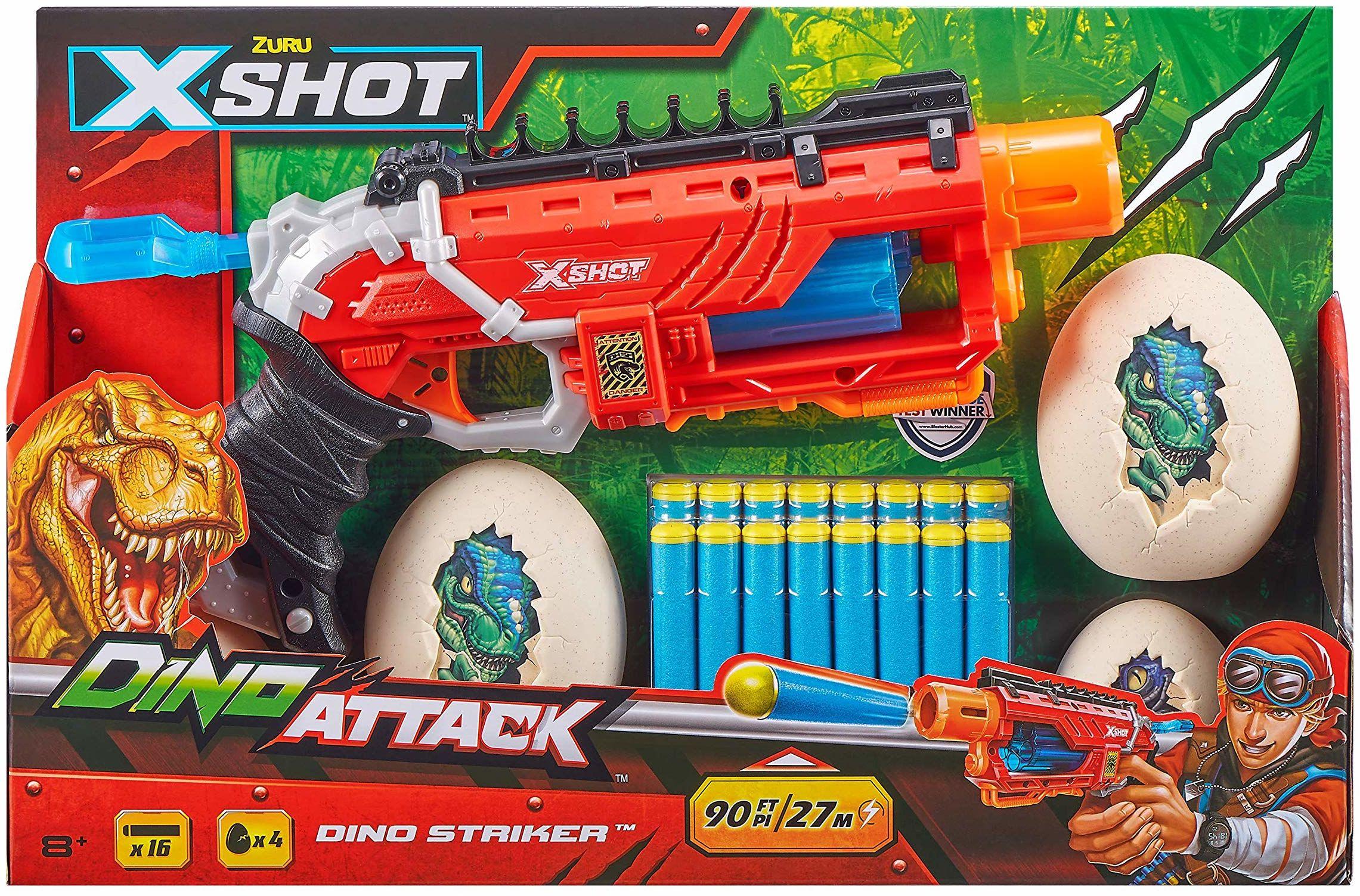 ZURU X-SHOT 4866 Dino Attack Striker pianka, 16 rzutek, 4 jajka