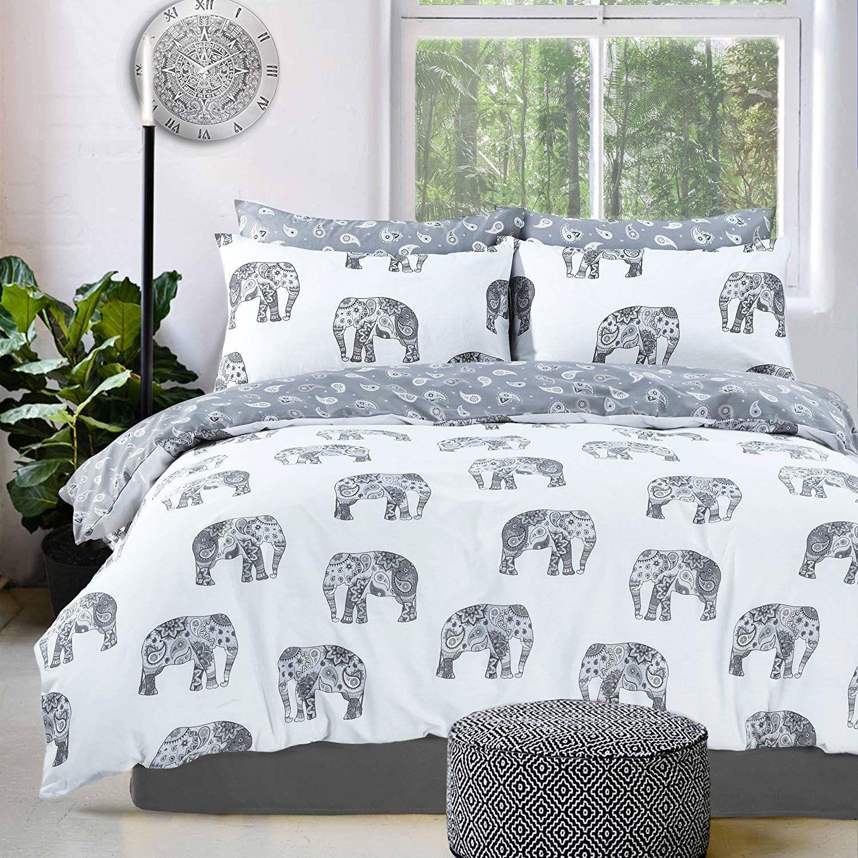 Sleepdown słoń szara dwustronna kołdra poszewka na kołdrę poszewki na poduszki (podwójna)