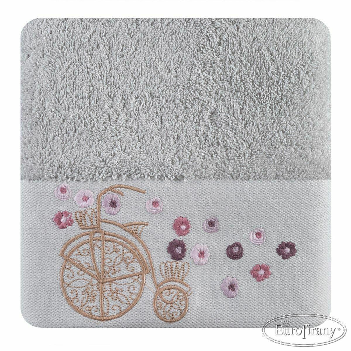 Ręcznik Joy 70x140 02 srebrny z haftem rowerek 500 gsm Eurofirany