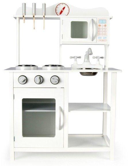 Kuchnia drewniana dla dzieci z zegarem White