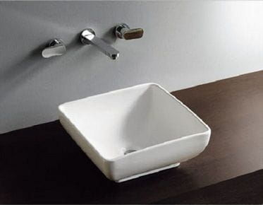 Umywalka nablatowa ceramiczna 40 x 40 cm biała PIAZZA