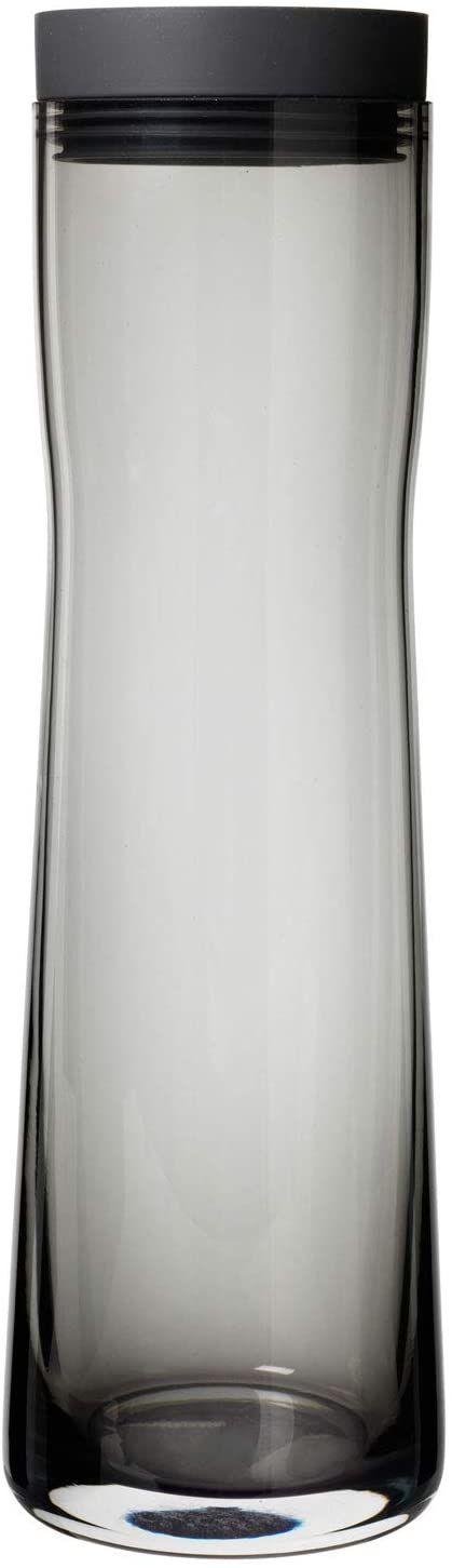 blomus -SPLASH karafka na wodę ze szkła dymnego, Dark Gray, pojemność 1 l, pokrywa ze stali nierdzewnej, łatwa obsługa, ekskluzywny design (wys. / szer. / głęb.): 29,5 x 9 x 9 cm, Dark Gray, 63807)