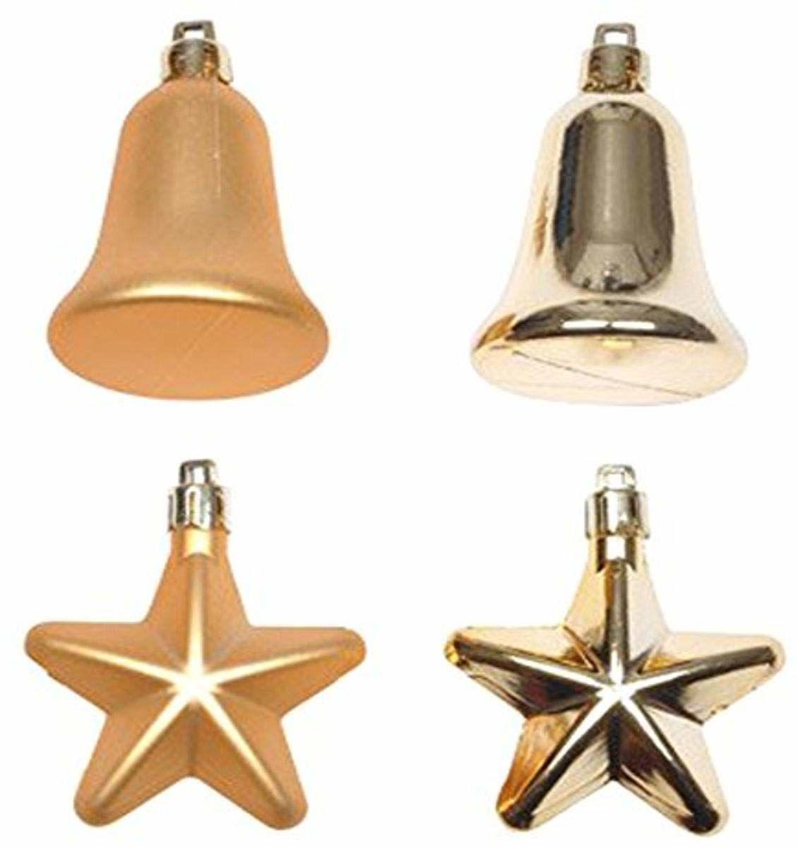 Prezent pojedynczy zestaw 8 wiszących gwiazdek, dzwonek 20 cm złoty