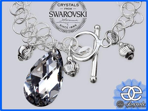 Kryształy ozdobna bransoletka COMET SREBRO