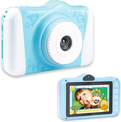 """AgfaPhoto Aparat fotograficzny Realikids Cam 2  aparat cyfrowy dla dzieci (zdjęcia, wideo, wyświetlacz LCD o przekątnej 3,5"""", filtr fotograficzny, tryb selfie, akumulator litowy), niebieski"""