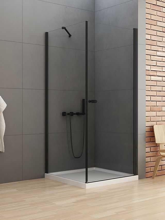 New Trendy New Soleo Black kabina prostokątna drzwi 70 x 90 cm wspornik skośny wys. 195 cm, szkło czyste 6 mm D-0229A/D-0115B