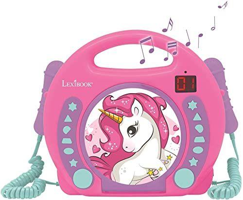 Lexibook RCDK100UNI przenośne mikrofony CD, odtwarzacz muzyczny, powtarzanie i programowanie, koń, karaoke, gniazdo słuchawkowe, dla dzieci, chłopców, dziewcząt, różowy/fioletowy