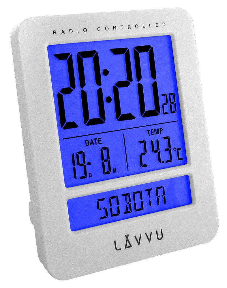 Budzik LAVVU LAR0020 Termometr DCF77 Dni Tygodnia PL - biały