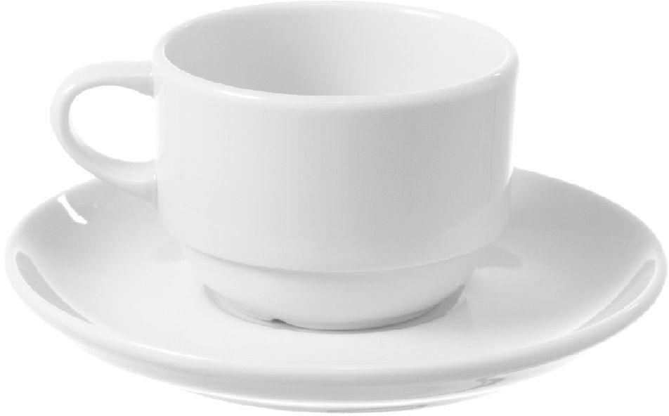 Filiżanka sztaplowana espresso ze spodkiem porcelanowa BIANCO