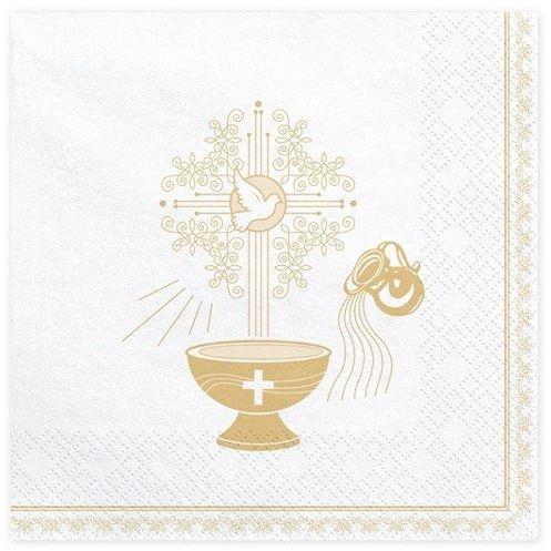 Białe serwetki na Chrzest Święty złote 33cm 20 sztuk SP33-65-019