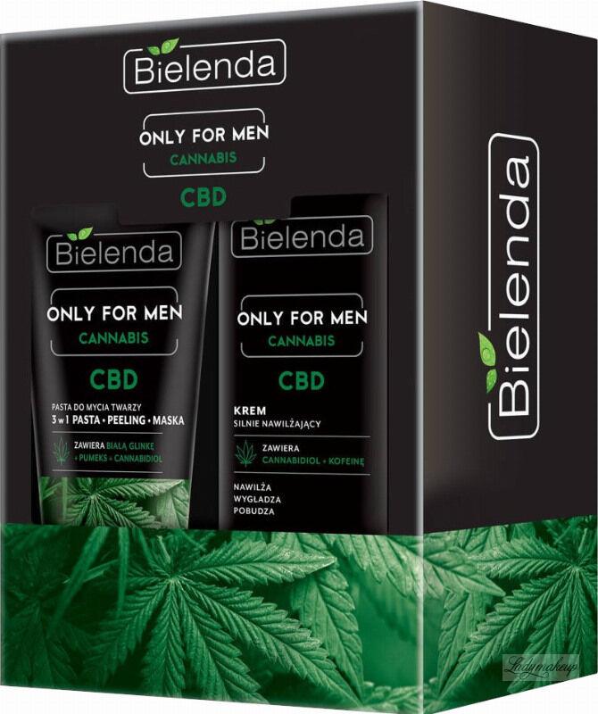 Bielenda - ONLY FOR MEN CANNABIS CBD - Zestaw kosmetyków dla mężczyzn - Krem silnie nawilżający 50 ml + Pasta do mycia twarzy 150 g