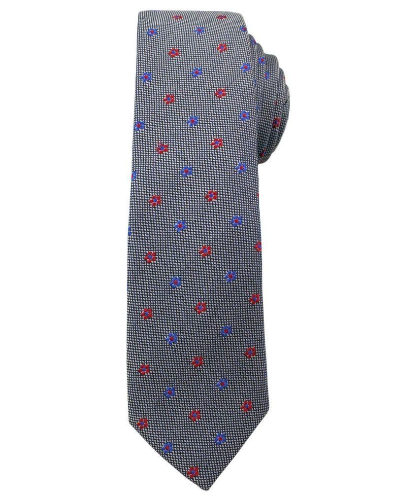 Modny i Elegancki Krawat Alties - Stalowy w Małe Kwiatki KRALTS0175