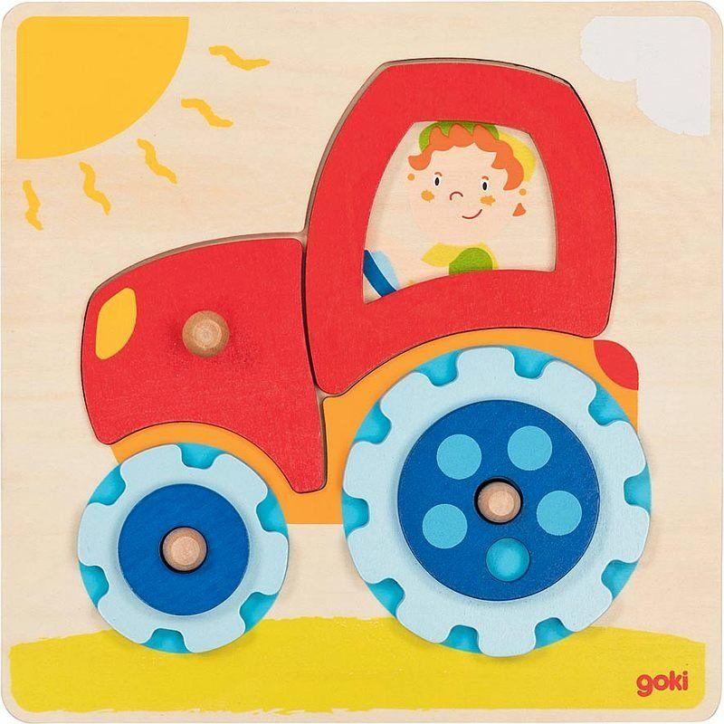 Układanka dla dzieci Traktor Sunny 57702-Goki, puzzle drewniane
