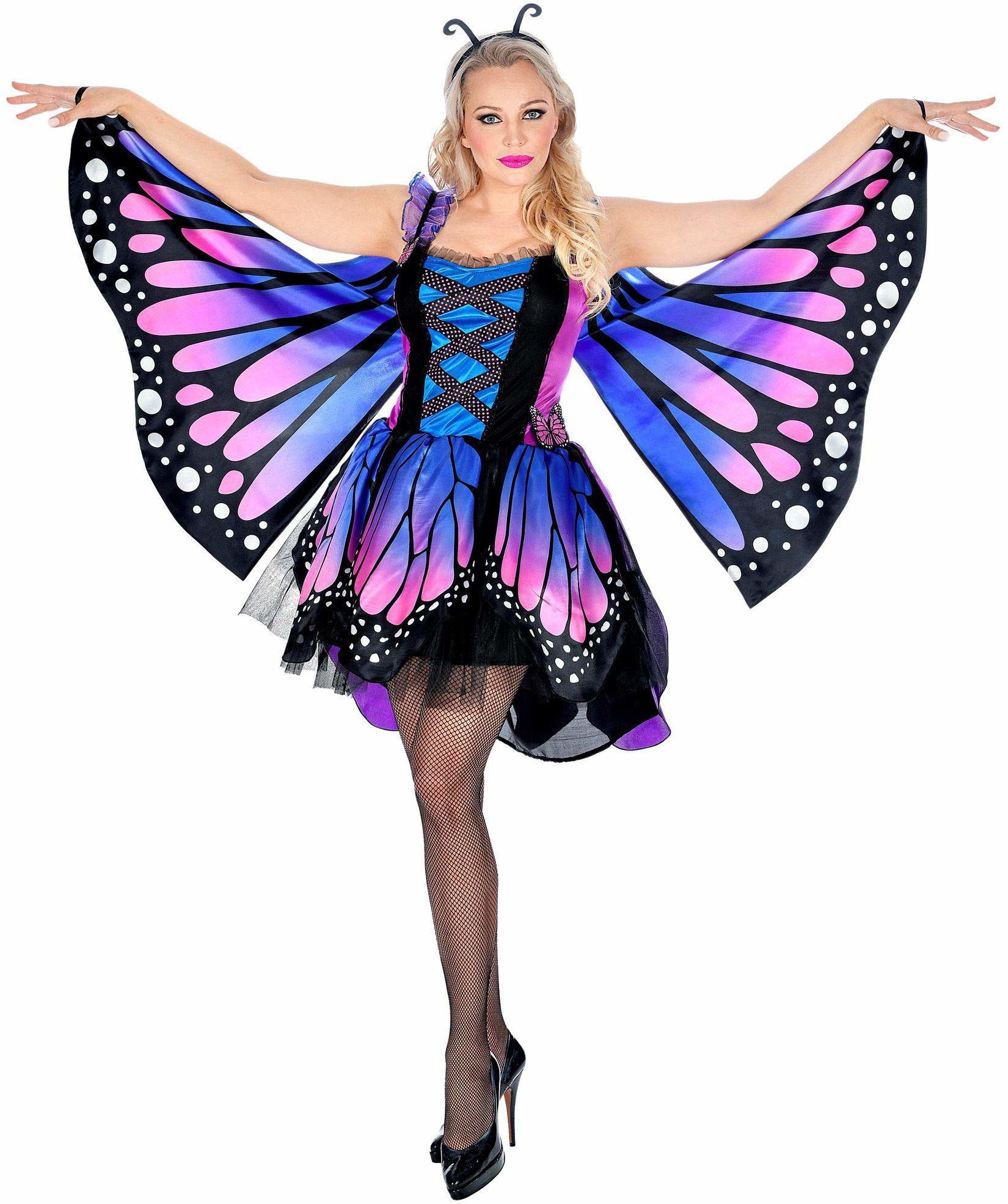 WIDMANN 07591 kostium motyla, damski, niebieski/różowy, S