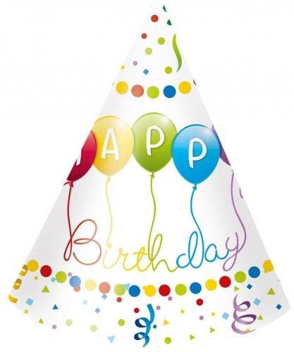 """Czapeczki papierowe """"Balonowe Happy Birthday"""""""