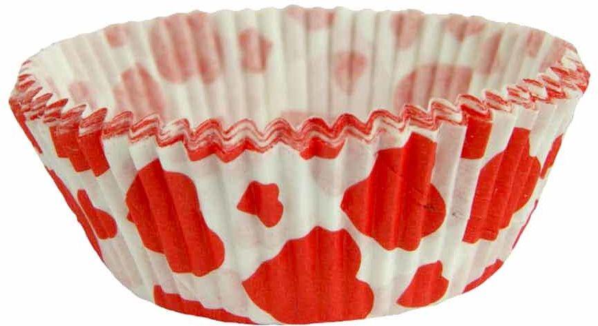 Foremki urodzinowe na babeczki białe w czerwone serca - 60 szt.