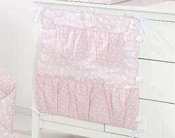 MAMO-TATO Przybornik organizer 5K na łóżeczko Las pastelowy róż / plamki pastelowy róż