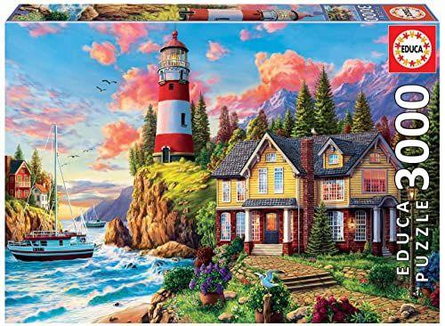 Educa 18507, latarnia, 3000 części puzzle dla dorosłych i dzieci od 12 lat, sceneria