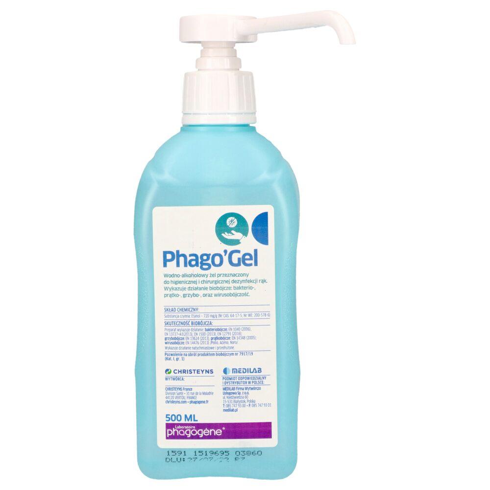 Phago Gel - żel do higienicznej i chirurgicznej dezynfekcji rąk metodą wcierania 500 ml z pompką