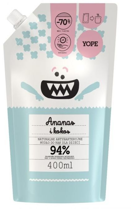 Mydło Dziecięce Antybakteryjne Ananas i Kokos Uzupełniacz 400ml - Yope