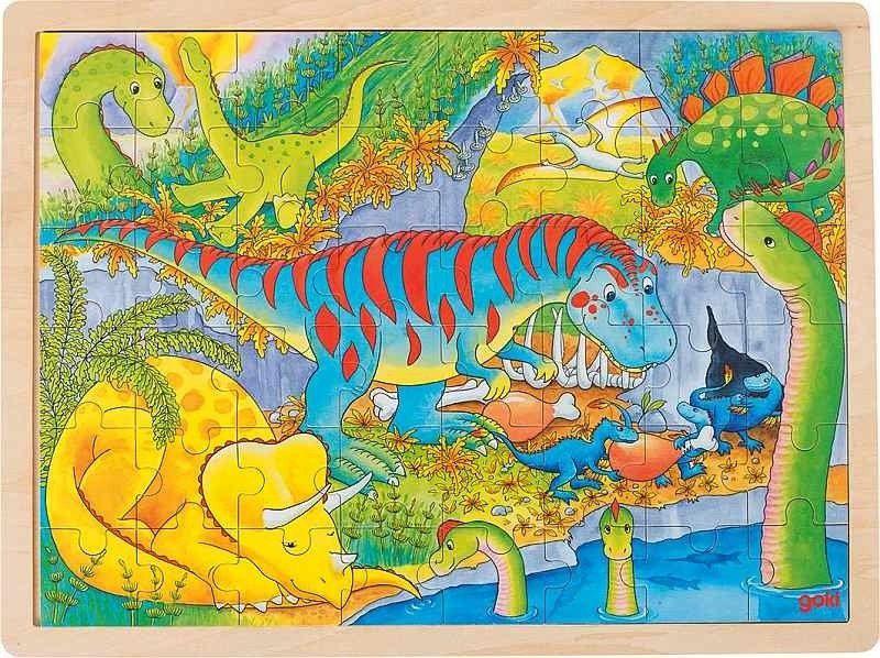 Puzzle drewniane Jurajska przygoda 57724-Goki, układanki dla dzieci