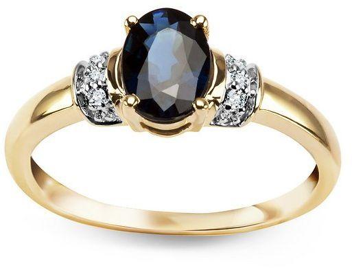 Złoty pierścionek - Diament Szafir