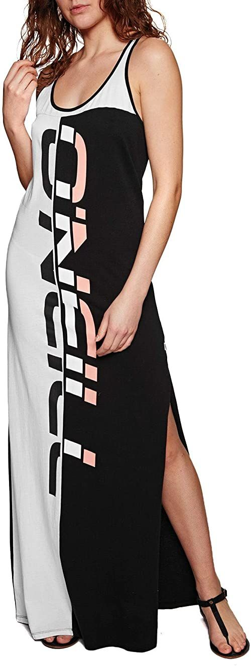 O''Neill LW Racerback Jersey DRESS-9910 Black AOP W/White-XS, sukienka damska, czarna/biała