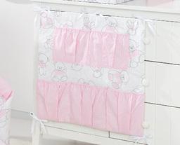 MAMO-TATO Przybornik organizer 5K na łóżeczko Misie różowe / jodełka różowa