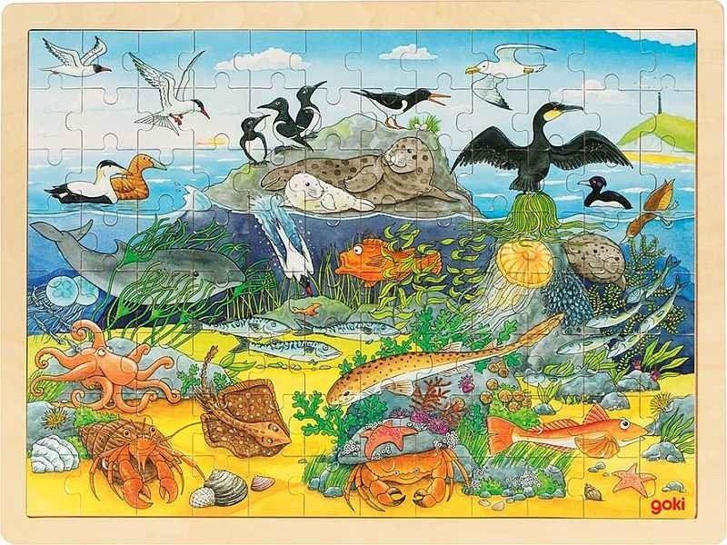 Puzzle drewniane Życie oceanu 57703-Goki, układanki dla dzieci