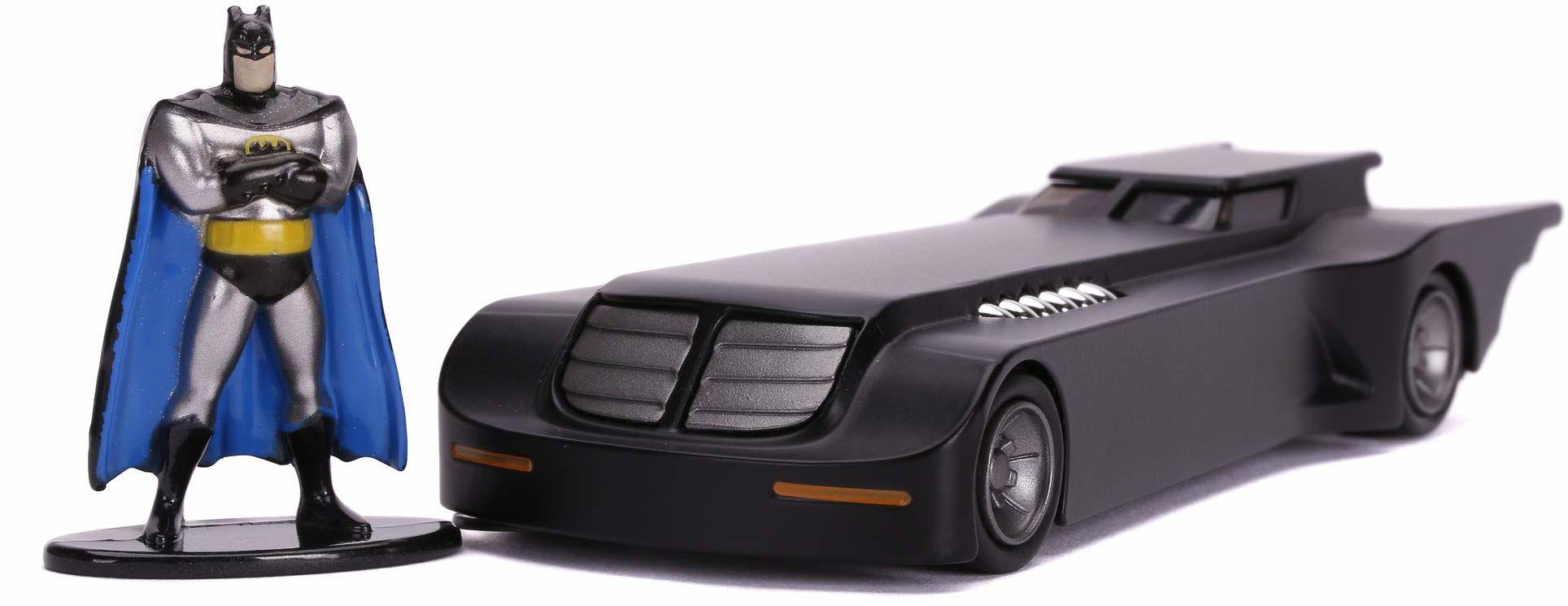 Jada Toys 253213004 Animated Series Batmobile, zabawkowy samochód, otwierane drzwi, Die-Cast, wraz z figurką Batmana, skala 1:32, czarny