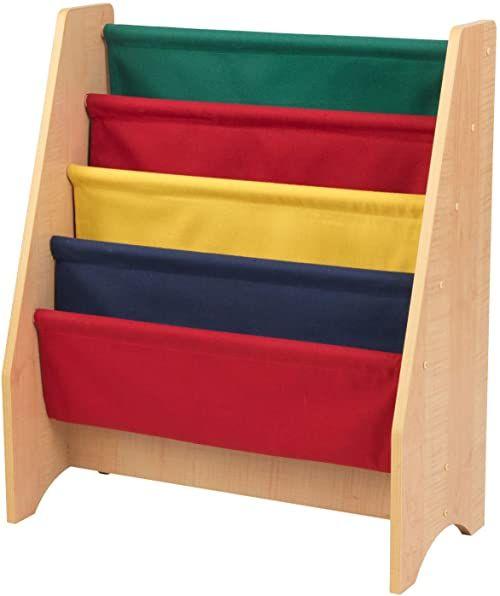 KidKraft 14226 dziecięcy wiszący drewniany regał na książki, meble do sypialni dziecięcej, regał na książki i stojak do przechowywania - kolory podstawowe i naturalne