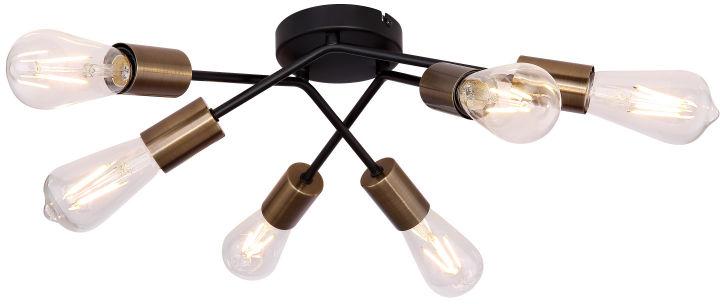 Globo SARINI 54003-6D plafon lampa sufitowa czarna antyczny mosiądz 6xE27 60W 54,5cm