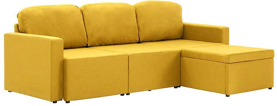 Rozkładana sofa modułowa żółta tkanina - Lanpara 4Q