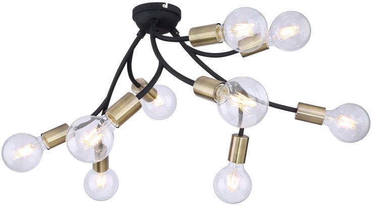 Globo SARINI 54003-9 plafon lampa sufitowa czarna antyczny mosiądz 9xE27 60W 64cm