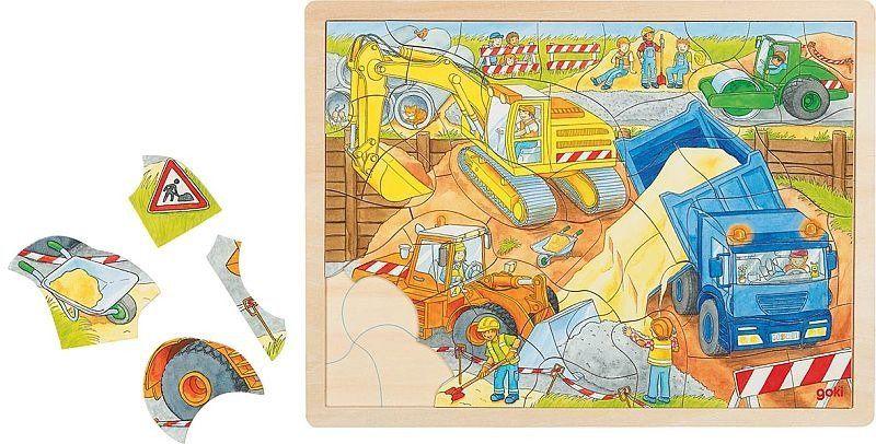 Puzzle drewniane Maszyny budowlane w akcji 57693-Goki, układanki dla dzieci