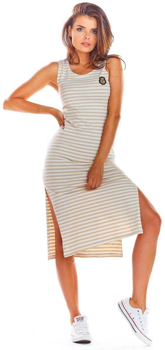 Beżowa bawełniana dopasowana sukienka z rozporkami w paski